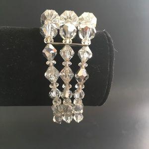 Sherman Three Row Faceted Crystal Bead Bracelet
